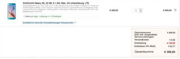 Samsung Galaxy S6 ohne Vertrag mit Saturn 100 Euro Rabatt