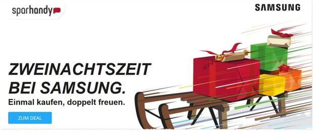 In verschiedenen Shop findet ihr Aktionsseiten für das Samsung Zweinachten mit Vertragsangebot + Gratis-Handy. So auch bei Sparhandy.