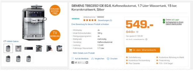 siemens kaffeevollautomat saturn angebot aus der werbung. Black Bedroom Furniture Sets. Home Design Ideas