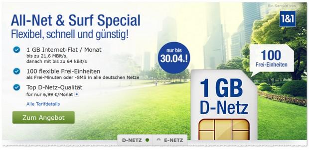 1und1 GMX 1GB All-Net & Surf Special Tarif