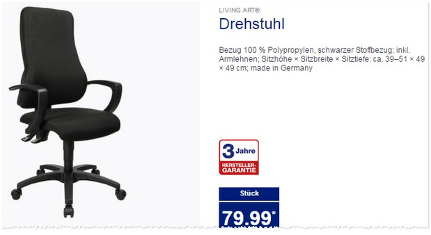 living art drehstuhl als aldi nord angebot ab 31. Black Bedroom Furniture Sets. Home Design Ideas