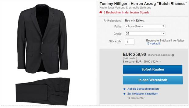 Anzug von Tommy Hilfiger bei ebay