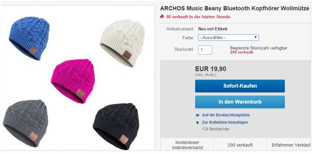 Archos Bluetooth Mütze bei eBay