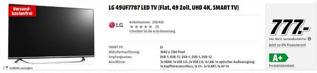 LG Fernseher 49UF7787