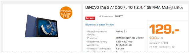 Lenovo Tab 2 A10-30 F