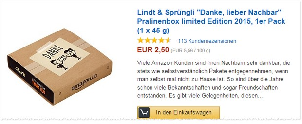 Danke, lieber Nachbar: Lindt & Sprüngli Pralinen kostenlos