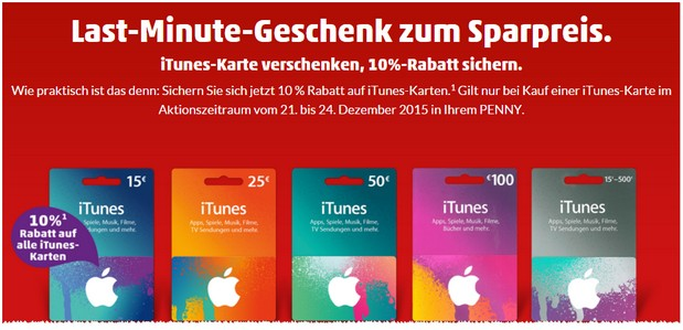 iTunes Karten Rabatt bei PENNY