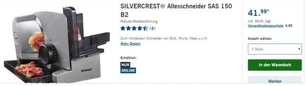 LIDL Allesschneider Silvercrest SAS 150 B2