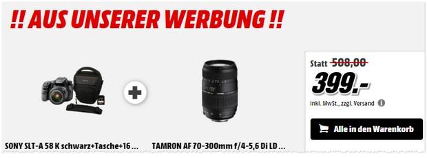 Sony SLT A 58K & Tamron Objektiv aus der Media Markt Werbung
