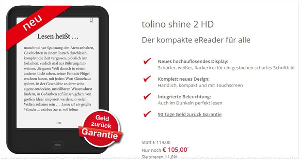 tolino shine mit 20 rabatt im telekom megadeal. Black Bedroom Furniture Sets. Home Design Ideas