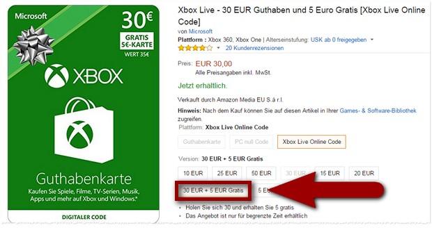Xbox Guthaben bei Amazon