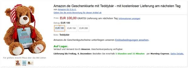Amazon Gutschein mit Teddy