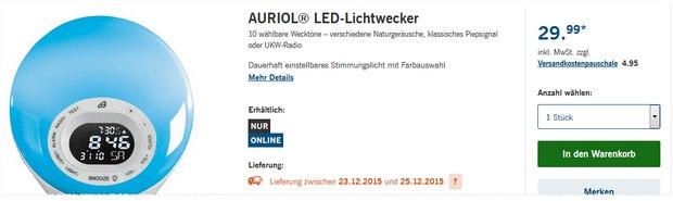 Auriol LED-Lichtwecker bei LIDL ab 23.12.2015