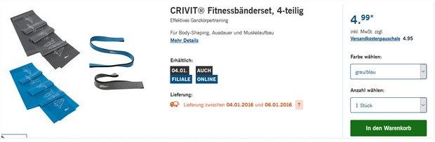 Crivit Fitnessbänder als LIDL-Angebot ab 4.1.2016