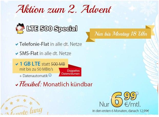 DeutschlandSIM-Tarif für 6,99 € zum 2. Advent