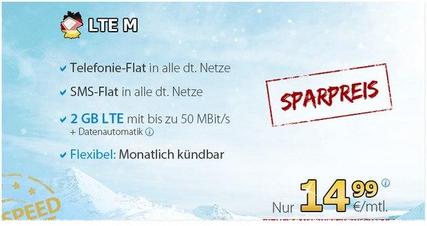 DeutschlandSIM LTE M Sparpreis von 14,99 € für Telefon-Flat, SMS-Flat + 2 GB LTE