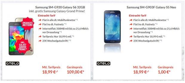 Eintracht Tarif als Samsung Galaxy S6 Vertrag für 18,99 € + 109 € Zuzahlung + Galaxy Grand Prime gratis!