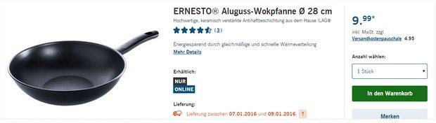 Ernesto Wokpfanne als LIDL-Angebot ab 4.1.2016 für 9,99 €