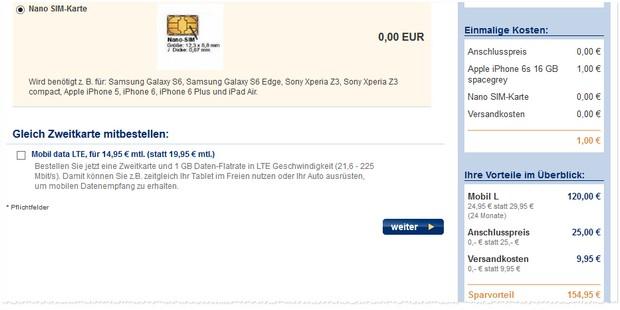 EWE Handyvertrag + iPhone 6s für 1 Euro