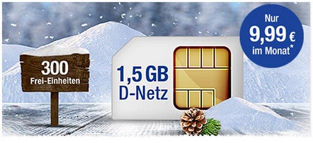 GMX All-Net 300 Plus als GMX-Handyvertrag mit 300 Einheiten, 1,5GB Internet-Flat für 9,99 €