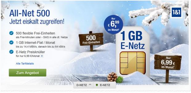 GMX Handytarif im E-Netz mit 500 inklusiveinheiten im Monat