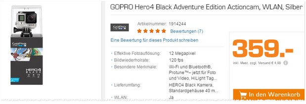Gopro Hero 4 aus der Saturn TV-Werbung