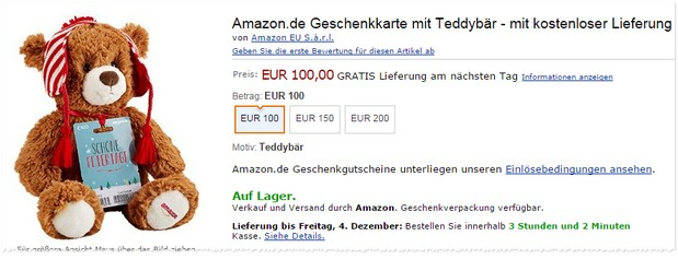 Gratis Teddy bei Amazon sichern