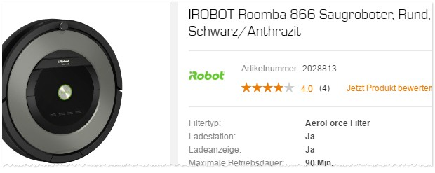 irobot roomba als media markt angebot aus der tv werbung. Black Bedroom Furniture Sets. Home Design Ideas