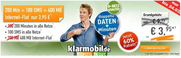 Klarmobil Alllnet-Starter im D2-Netz für 3,95 €