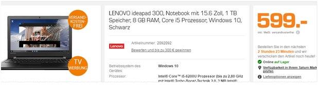 """Lenovo Ideapad 300: 15,6"""" Notebook aus der Saturn-TV-Werbung mit Intel i5 + 8 GB RAM für 599 € - als Angebot ab 28.3.2016 bzw. 29.3.2016"""