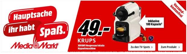 Krups XN1001 Nespresso Inissia Maschine für 49 €