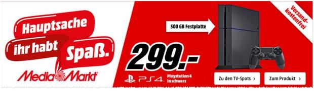 Media Markt Werbung mit PlayStation 4 Konsole für 299 €