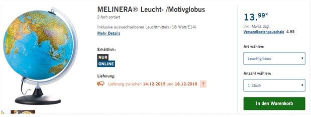 Im Online-Shop gibt es den Melinera Leuchtglobus als LIDL-Angebot ab 14.12.2015 für 13,99 € - und somit 1 € günstiger als bei ALDI