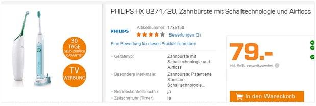 Schallzahnbürste Philips HX 8271/20 (Sonicare) mit Airfloss aus der Saturn-Werbung für 79 Euro