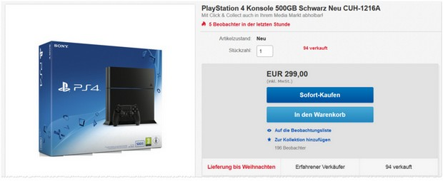 PlayStation 4 für 299 € bei Media Markt