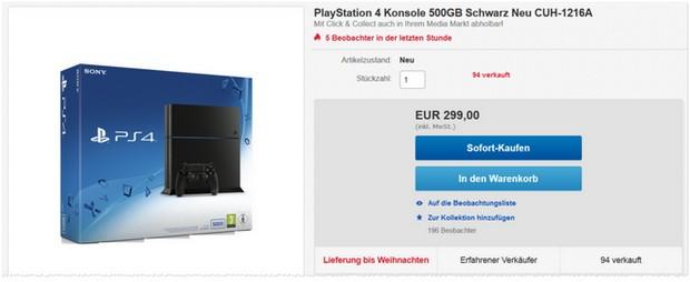 PlayStation 4 für 299 € bei Media Markt
