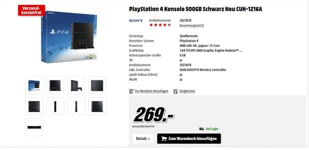 Nackte PlayStation 4 für 269 €