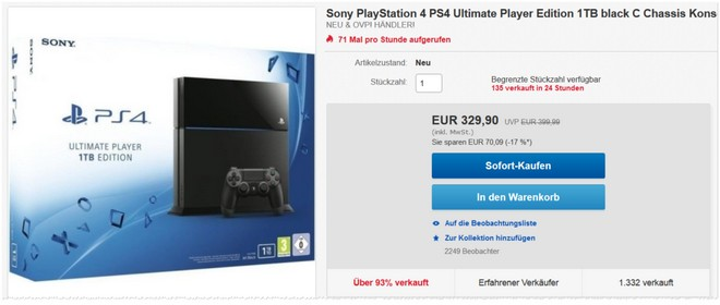 PlayStation 4 Ultimate Player Edition als eBay Angebot