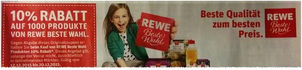 REWE Coupon zum Ausschneiden: 10 Prozent Rabatt