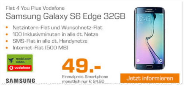 Saturn Handyvertrag mit Samsung Galaxy S6 Edge