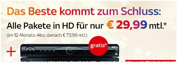 Sky komplett für 29,99 € - sogar inklusive HD