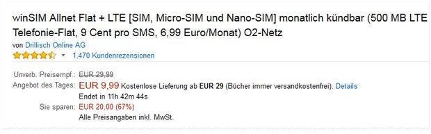 WinSIM Allnet-Flat + LTE: 6,99 € Aktionstarif mit 500 MB LTE ohne Laufzeit bei Amazon