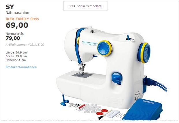 Ikea n hmaschine f r family mitglieder 69 sonst 79 for Ikea schlafsofa 79 euro