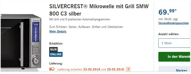 LIDL Mikrowelle mit Grill