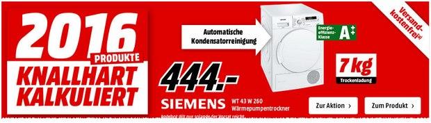 Siemens WT43W260 aus der Media Markt Werbung für 444 Euro
