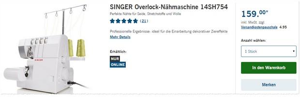 Singer Nähmaschine Overlock 14SH754