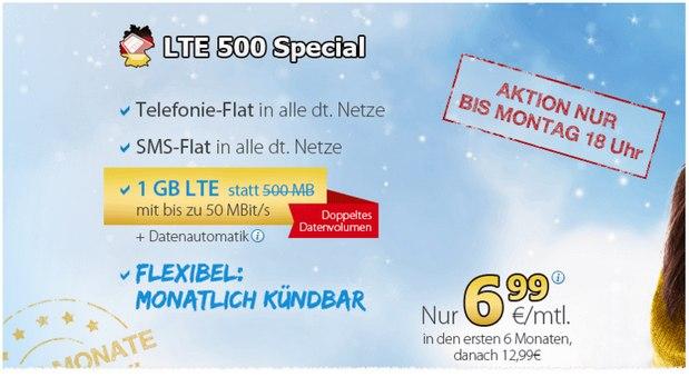 DeutschlandSIM LTE 500 Special: 6,99 € Handytarif in den ersten 6 Monaten, danach 12,99 €