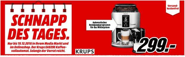 Krups Kaffeevollautomat als Media Markt Schnapp des Tages am 19.12.2016 für 299 €