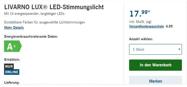 Livarno Lux LED-Stimmungslicht als LIDL-Angebot ab 1.2.2016