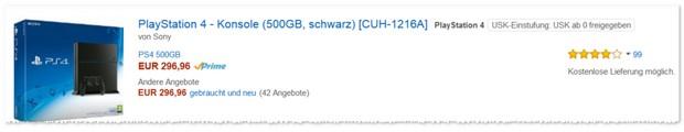 PlayStation 4 Preis unter 300 Euro